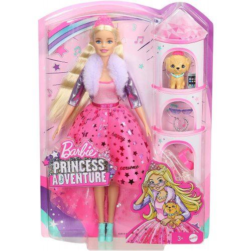 Barbie: Hercegnő kaland - Szőke hajú baba kiskutyával (GML76)